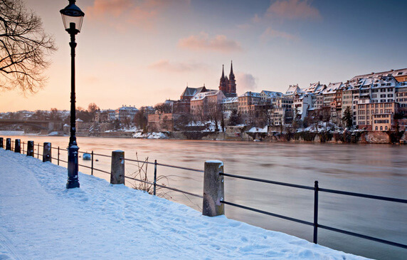 Basel on the Rhine in Winter
