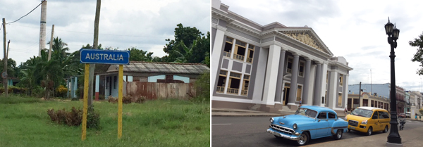 A Town Called Australia on the Way to Cienfuegos and Classic Cars Along the Road